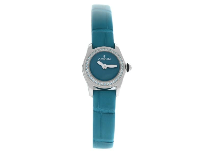 Corum Bubble Mini 137.100.47/0003 BL01 Topaz Ladies Steel 17MM Quartz Watch