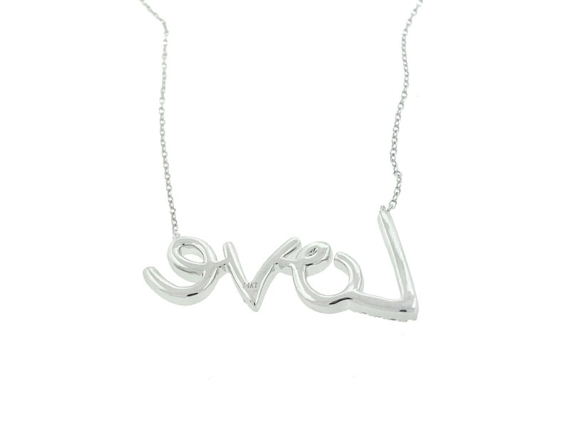 14k White Gold Love Diamond Necklace