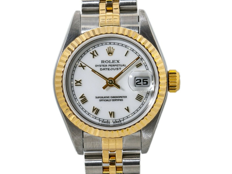 Rolex Datejust 69173 Automatic Lady's Watch White Dial 18K Two Tone W/Paper 26mm