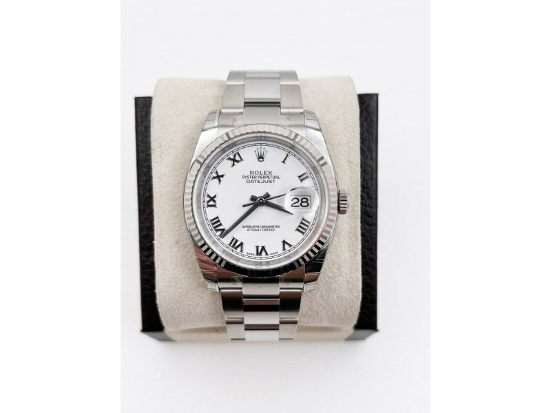 BNOS Brand New Rolex 116234 White Dial Stainless Steel 18K WG Box Papers