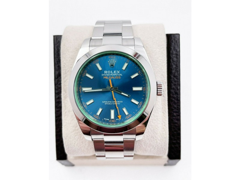 Rolex Milgauss 116400 Blue Dial Green Crystal Stainless