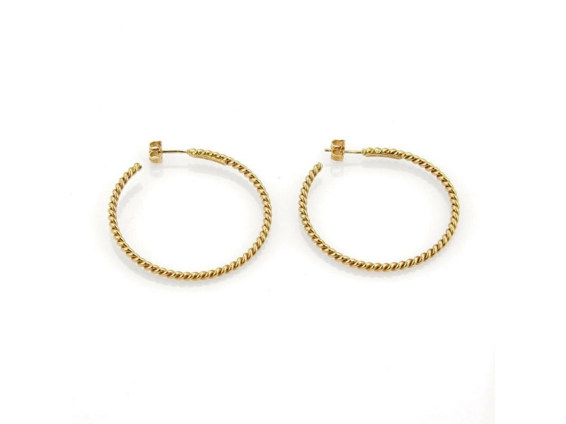 Tiffany & Co. Wire Cable Mid Size 18k Yellow Gold Hoop Earrings