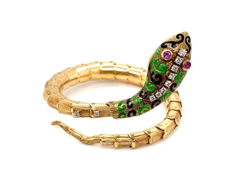 Diamond Ruby & Enamel 14k Yellow Gold Snake Flex Wrap Bracelet