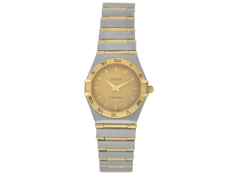 Omega Constellation Full Bar Ladies 18K Yellow Gold 24MM Quartz Watch