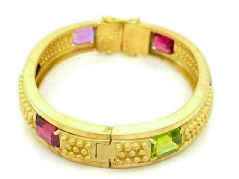Vahe Naltchayan Multicolor Gems 18k Yellow Gold 11.5mm Wide Bead Design Bracelet