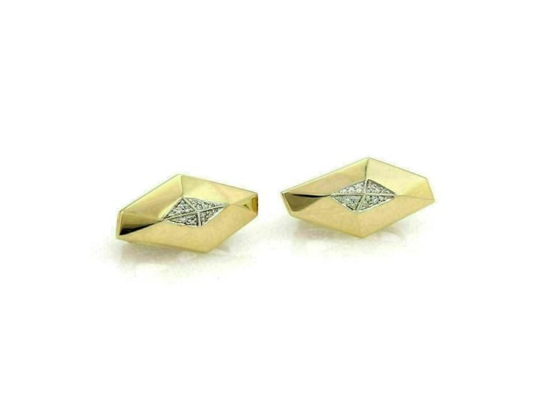 Roberto Coin Diamond 18k Yellow Gold Geometric Shape Post Clip Earrings