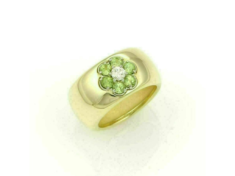 Hammerman Brothers Diamond Peridot 18k Yellow Gold Floral Wide Band Ring
