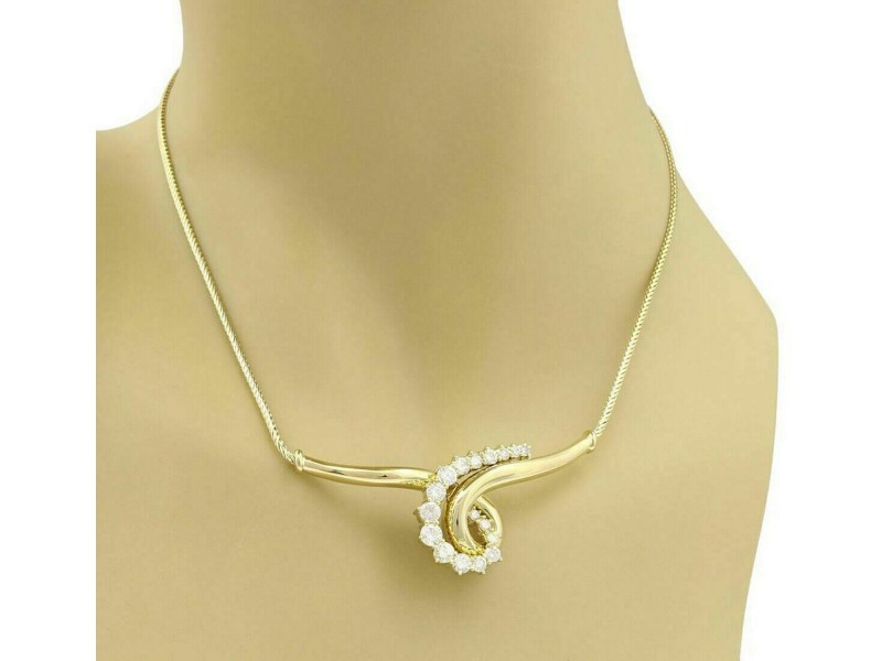 Jose Hess Diamond 18k Yellow Gold Wide Curved Scroll Necklace