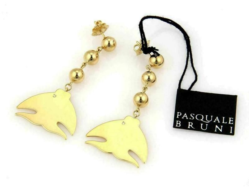 Pasquale Bruni Le Monde Diamond 18k Gold Fish Drop Dangle Earrings