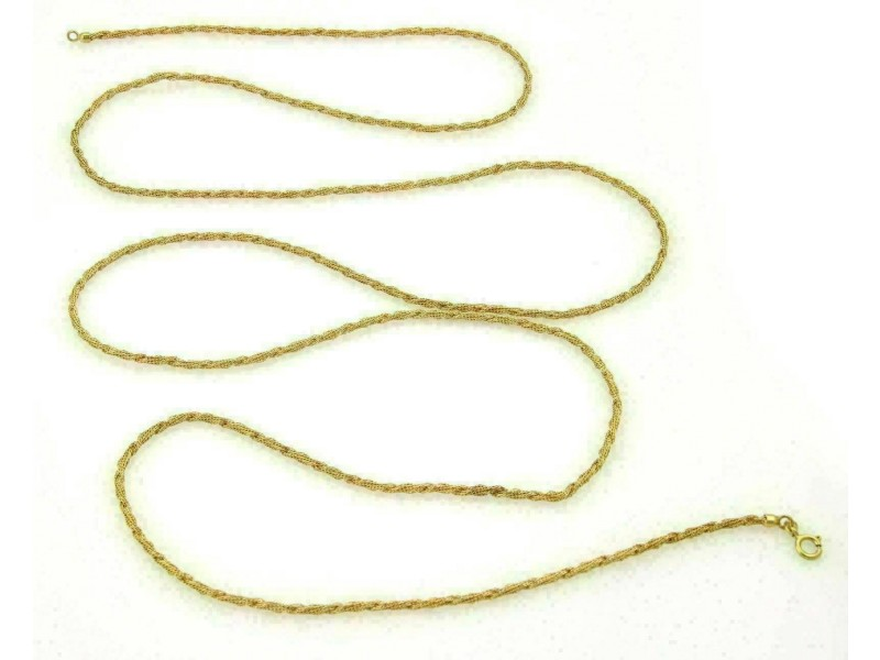 """Vintage Fine Twisted Mesh Design 18k Yellow Gold Necklace 52.5"""""""