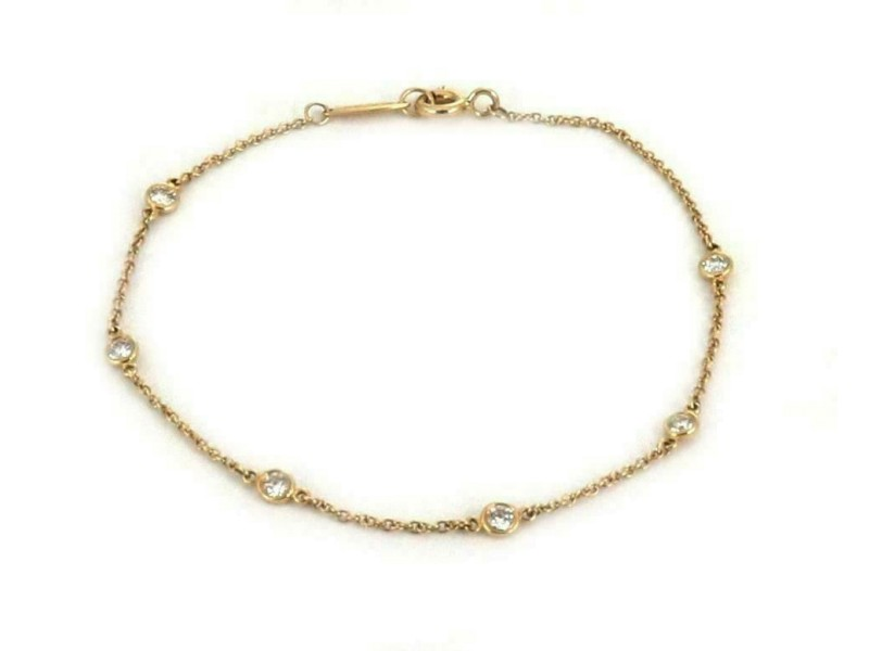 Tiffany & Co. Peretti 6 Diamond By The Yard 18k Yellow Gold Chain Bracelet