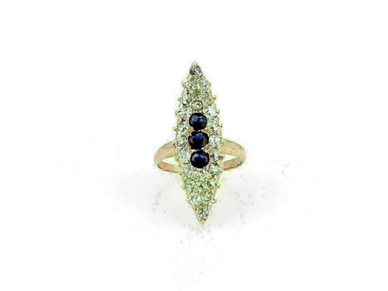 Victorian Old Mine Cut Diamonds Sapphire Marquise 14k Rose Gold Ring