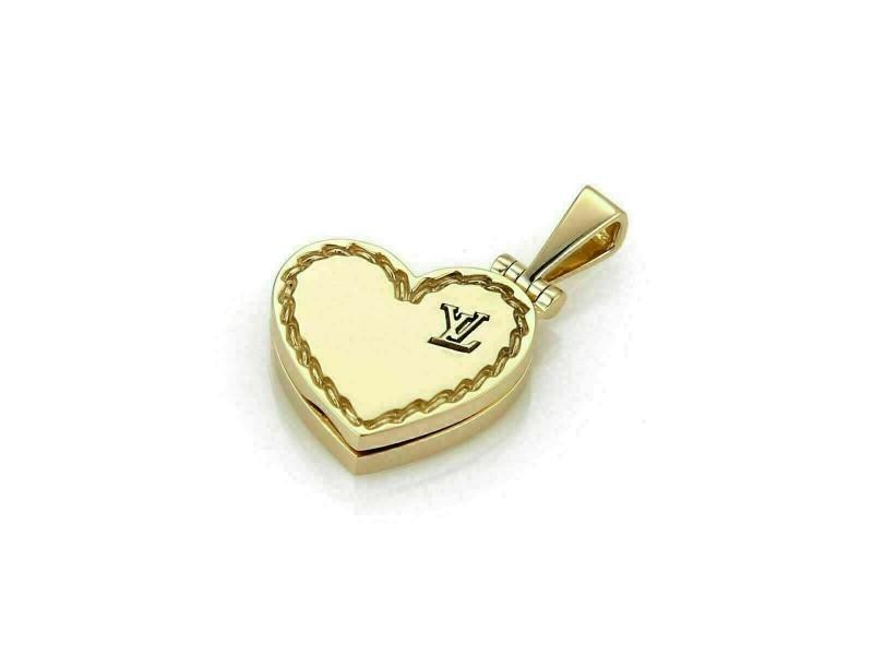 Louis Vuitton 18k Yellow Gold Logo Heart Locket Pendant