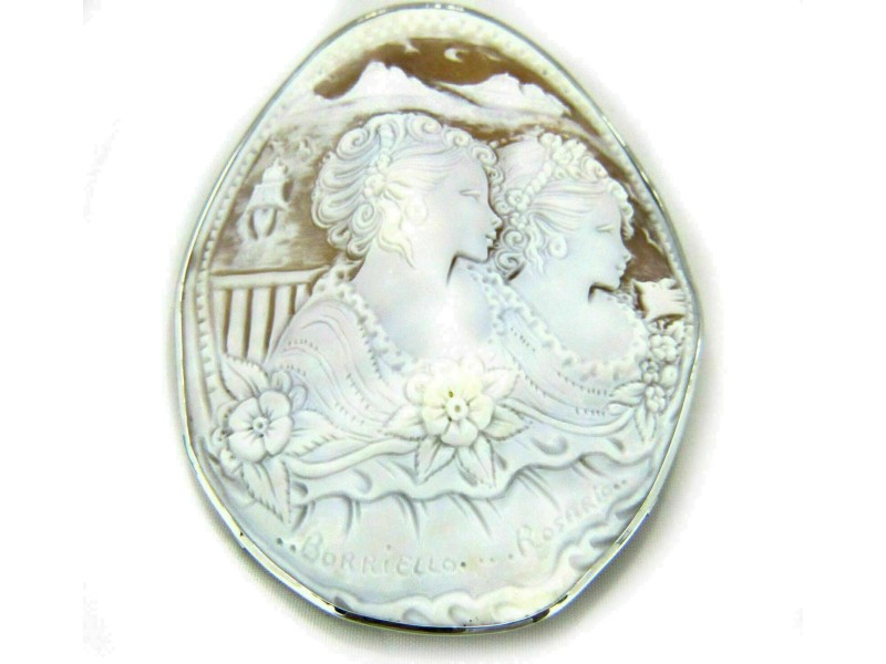 Large Oval Shell 2 Women 18k White Gold Cameo Pendant Brooch