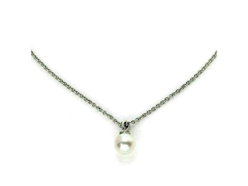 Bvlgari 8.7mm Pearl Diamond 18k White Gold Pendant & Chain