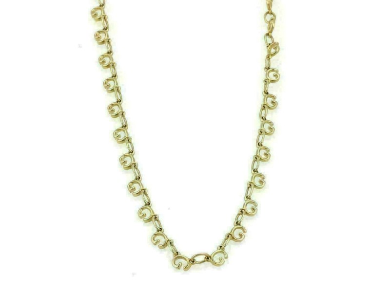 Gucci All Around G Logo Link 18k Yellow Gold Long Chain Necklace