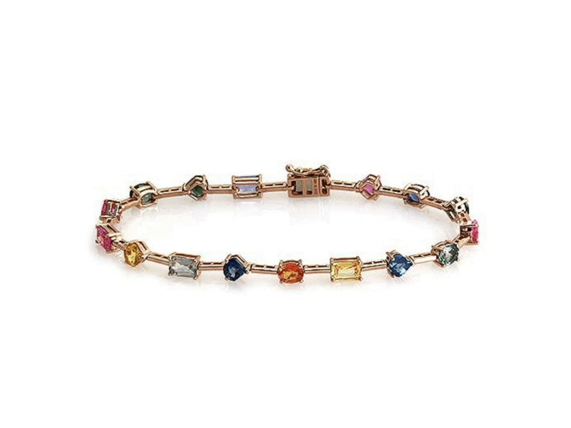 "9.27 CT Multi Color Sapphire in 14K Rose Gold Bracelet Size 7"""