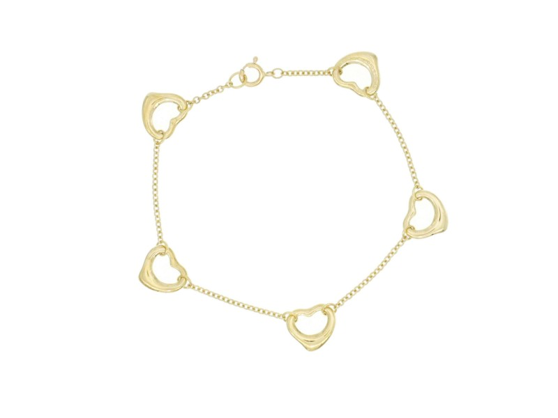 "Auth TIFFANY & CO, 18K Yellow Gold Elsa Peretti Open Heart Bracelet Size 7"""