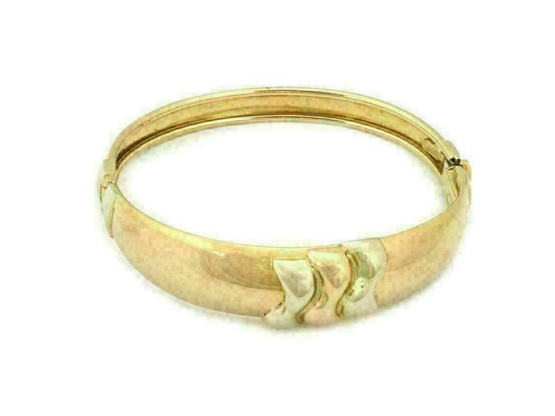 Darnlaion 18k Two Tone Hinged Dome Bangle Bracelet