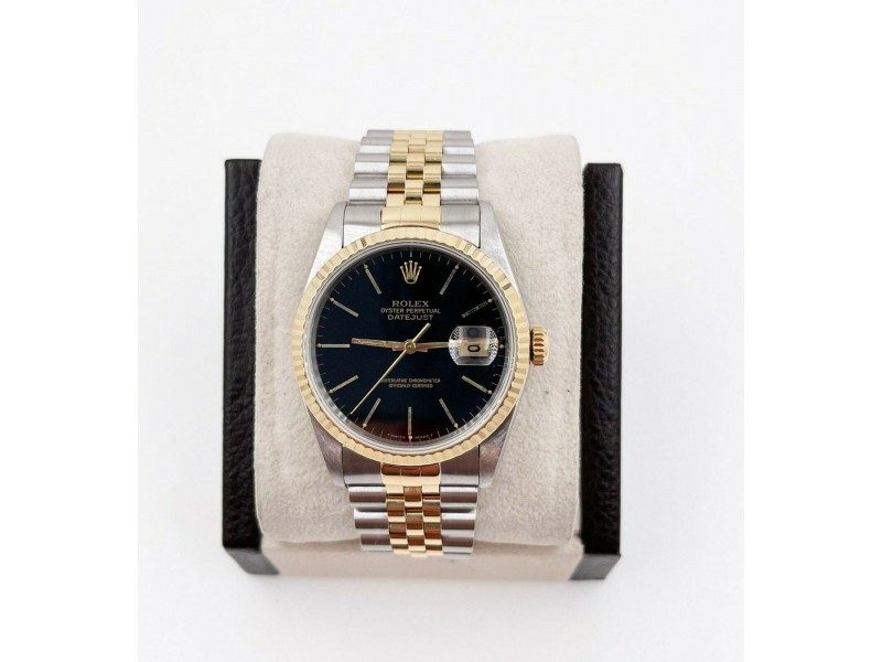 Rolex 16233 Black Dial 18K Yellow Gold Stainless Steel