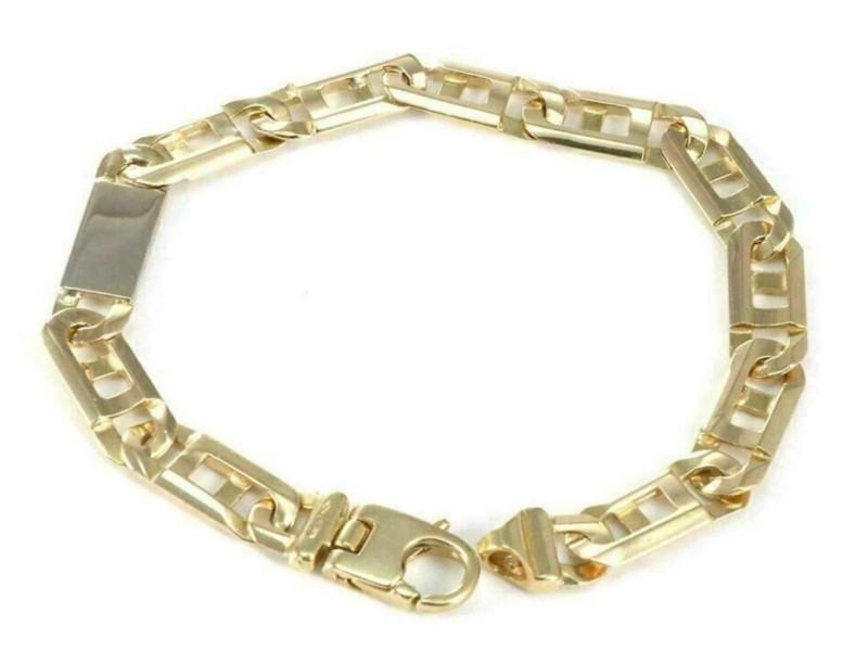 Wide Flat 8mm Mariner 18k Two Tone Gold Link Bracelet