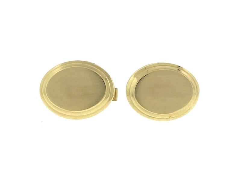 14k Yellow Gold Oval Cufflinks