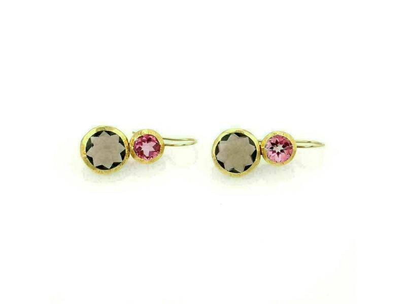 Nava Zahavi 18k Yellow Gold Pink Tourmaline & Smokey Quartz Drop Earrings