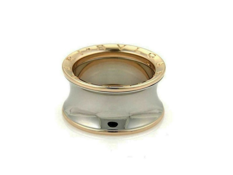 Bvlgari B.zero1 Anish Kapoor 18k Rose Gold & Steel Wide Band Ring Size 52