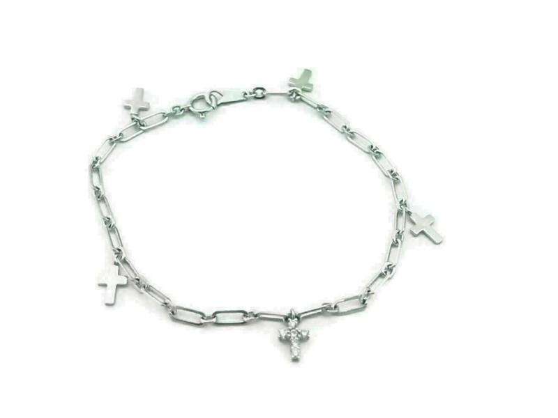 Vendome 18k White Gold Diamonds Cross Charm Oval Link Bracelet
