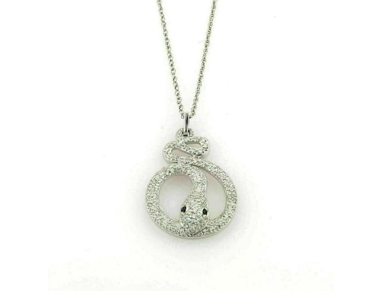 Diamonds & Sapphire 14k White Gold Snake Pendant Necklace