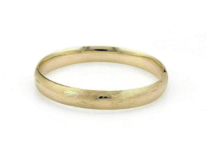 "Estate 14k Yellow Gold 11mm Wide Floral Textured Dome Bangle Bracelet 8"""