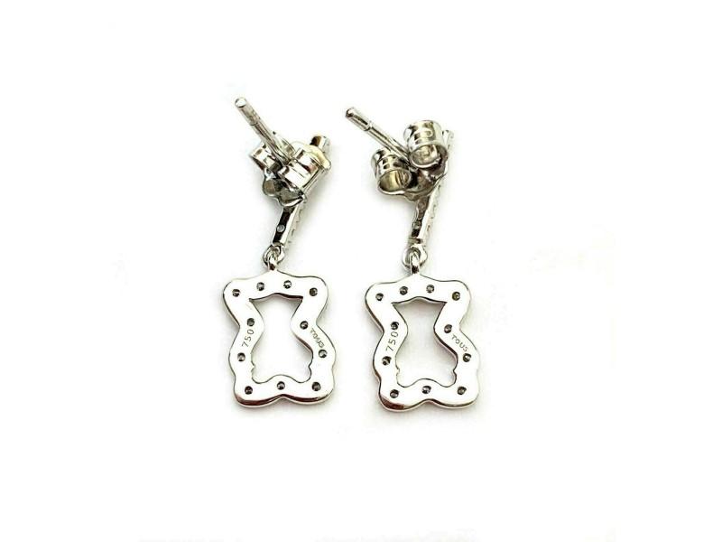 Tous Diamond 18k White Gold Cut Out Bear Dangle Earrings