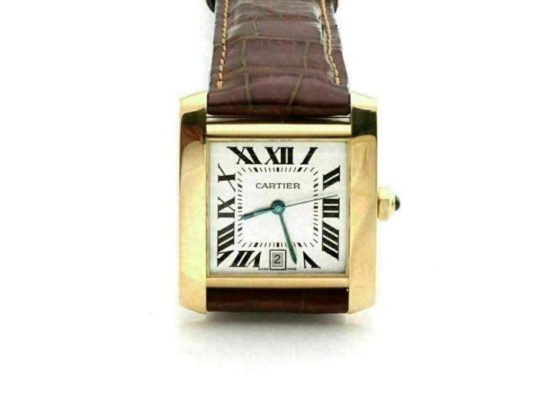 Cartier Tank Francaise 18k Yellow Gold Date Automatic Watch w/Leather Band 1840