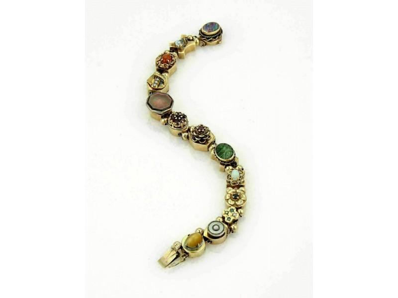 Vintage 14k Yellow Gold Multicolor Gems Slide Charm Bracelet