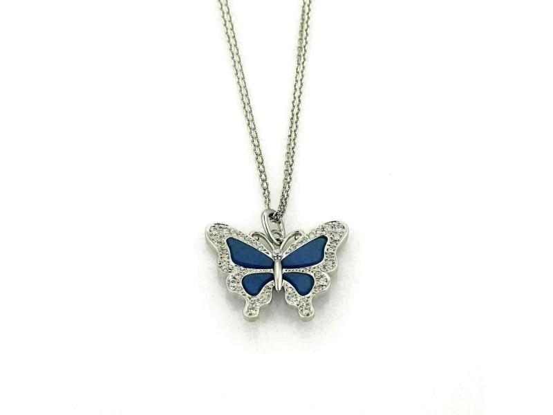 Diamond & Blue Enamel Butterfly & Double Chain 18k White Gold Necklace