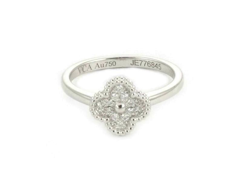 Van Cleef & Arpels Sweet Alhambra Diamond 18k White Gold Ring Size 50 Rt. $3,650