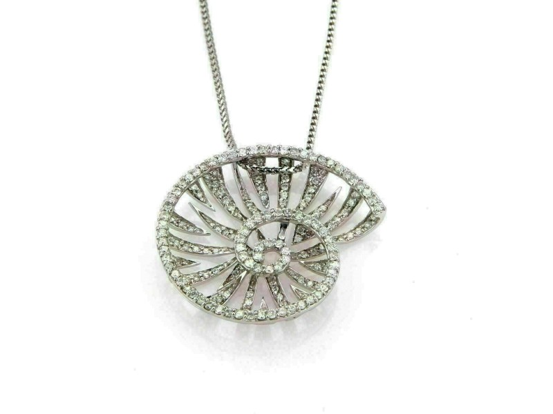 Elini 2.40ct Diamond Snail 18k White Gold Pendant Necklace