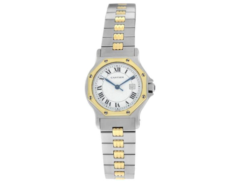 Cartier Santos Octagon G Ladies Midsize Gold Steel Date Automatic 30MM Watch