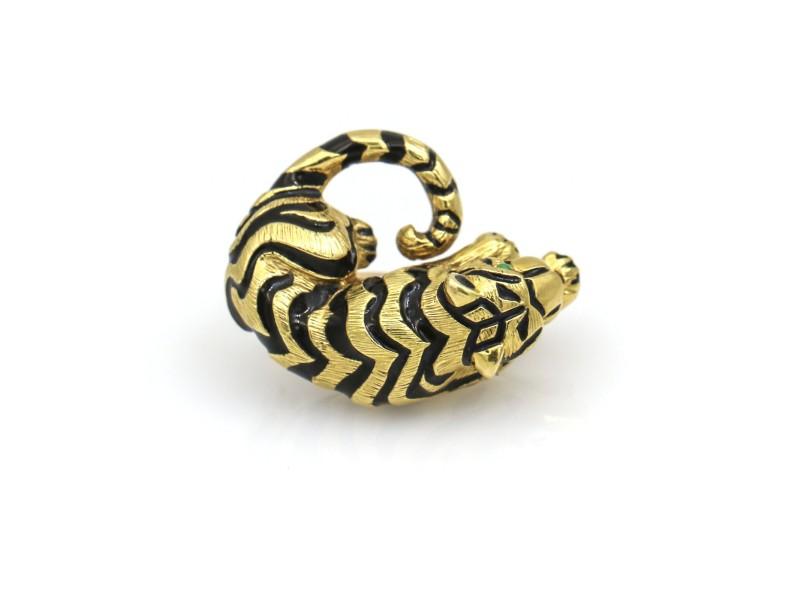David Webb Small Tiger Brooch with Emerald Eyes and Black Enamel in 18k Gold