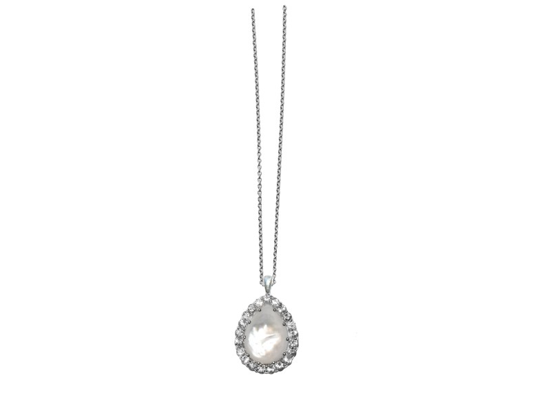 Sterling Silver White Topaz, Mother of Pearl Necklace