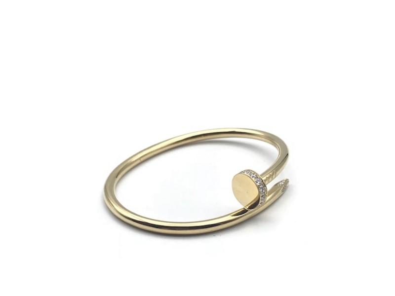 Cartier Juste Un Clou Yellow Gold Diamond Bracelet Size 17