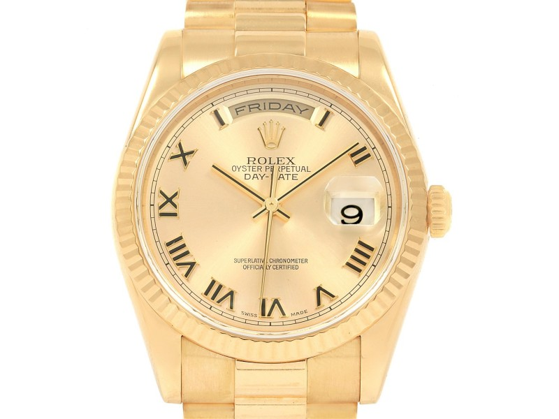 Rolex President Day Date 18k Yellow Gold Mens Watch 118238