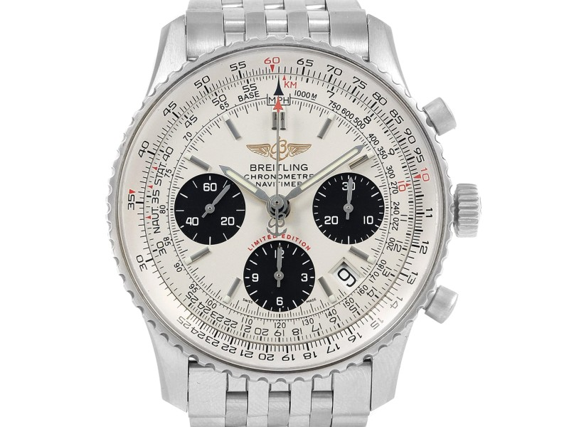 Breitling Navitimer Chronograph Panda Steel Mens Watch A23322 Box Papers
