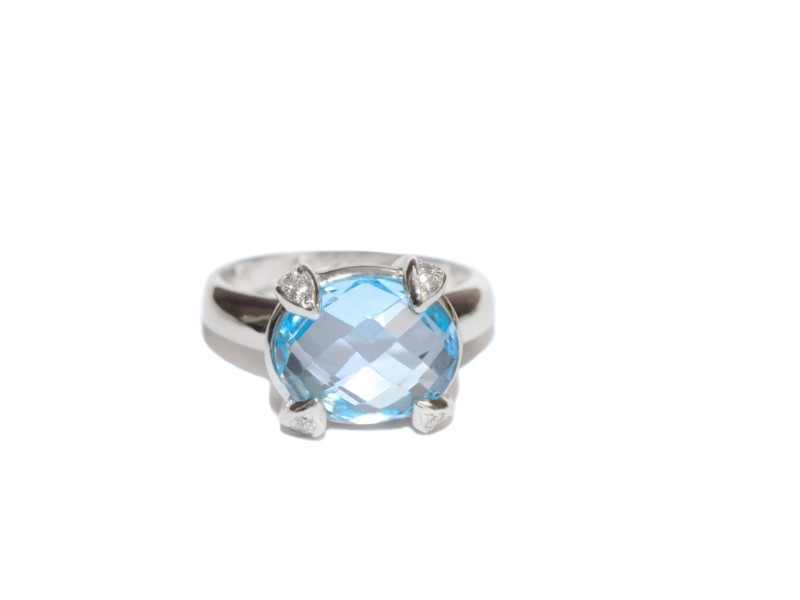 Anzie Sterling Silver Blue Topaz, White Sapphires Ring