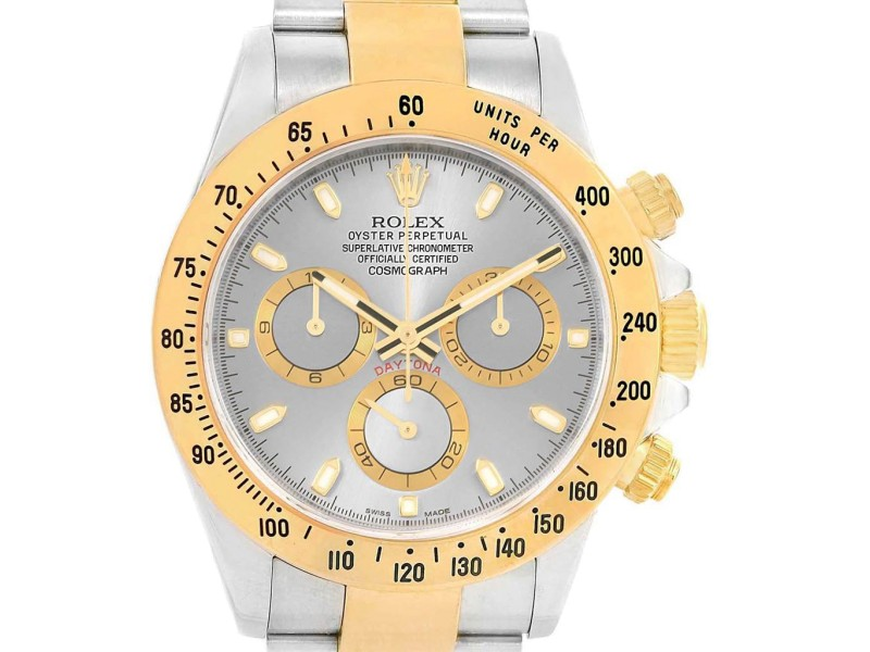 Rolex Daytona Steel 18k Yellow Gold Slate Dial Watch 116523