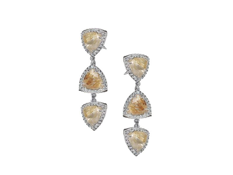 Sterling Silver White Sapphires, Rutilated Quartz Earrings