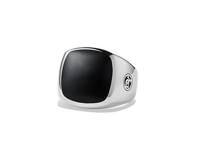 David Yurman 925 Sterling Silver and Black Onyx Signet Mens Ring