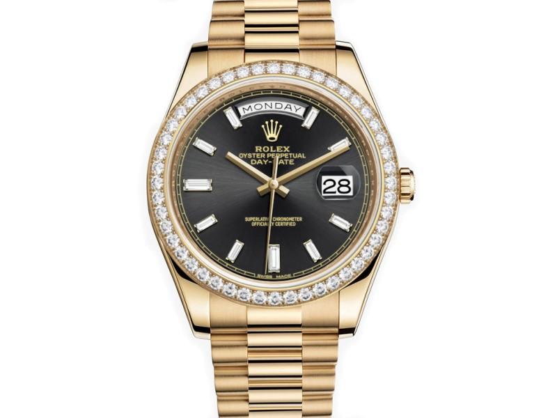 Rolex Day-Date President II 218238 41mm Custom Black Diamond Bezel