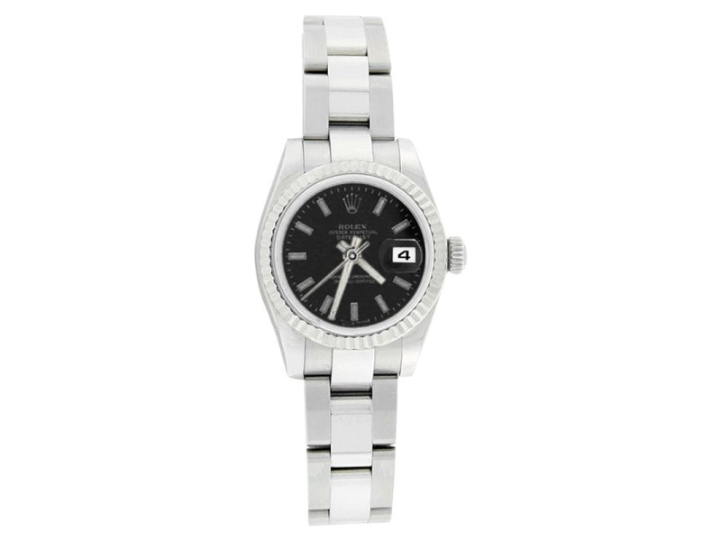 Rolex Datejust 179174 Oyster Stainless Steel Black Stick Dial Womens Watch
