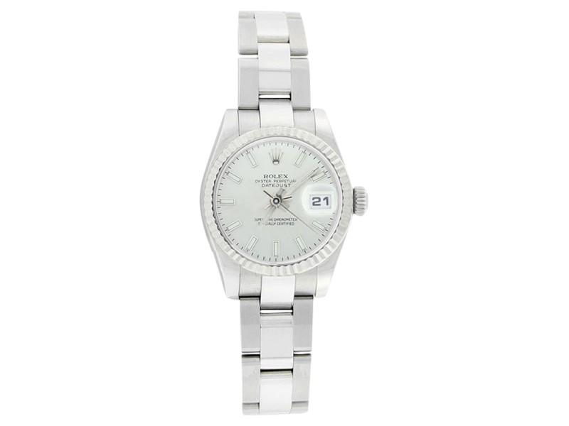 Rolex Datejust 179174 Oyster Stainless Steel Silver Stick Dial Womens Watch